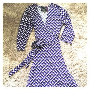 Leota Purple Chevron Wrap Dress